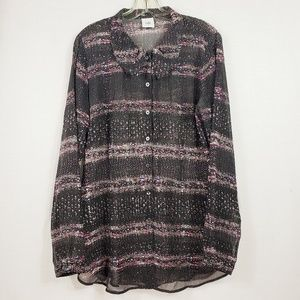 Cabi Sheer Button Front Tunic Top Size M